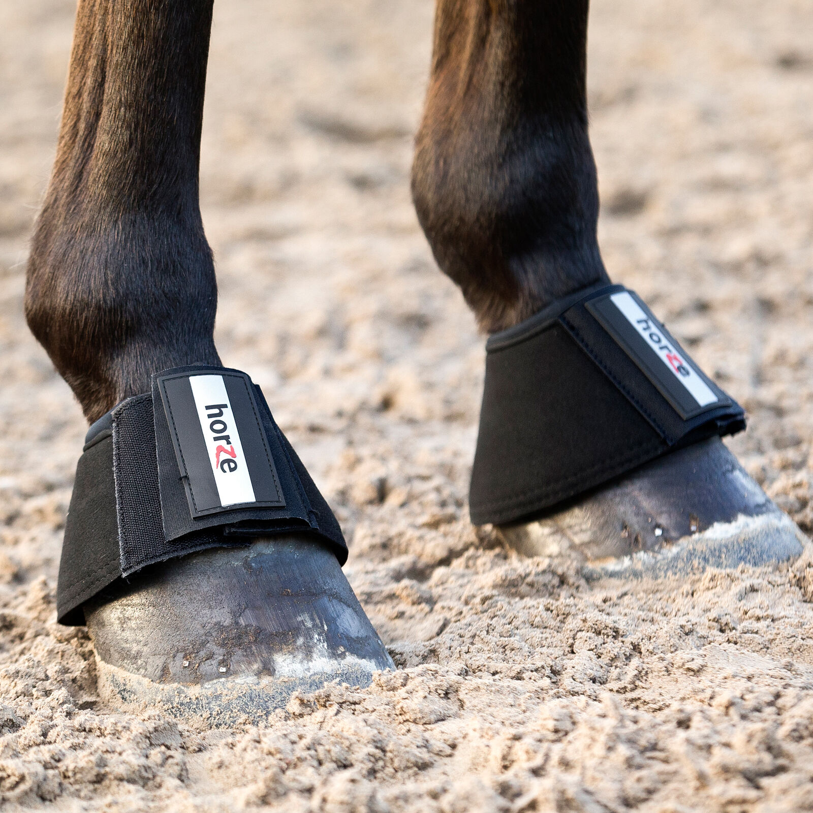 Horse Anti-Twist No Turn Lock-On Horse Bell Over Reach Boots ~ White Or Black